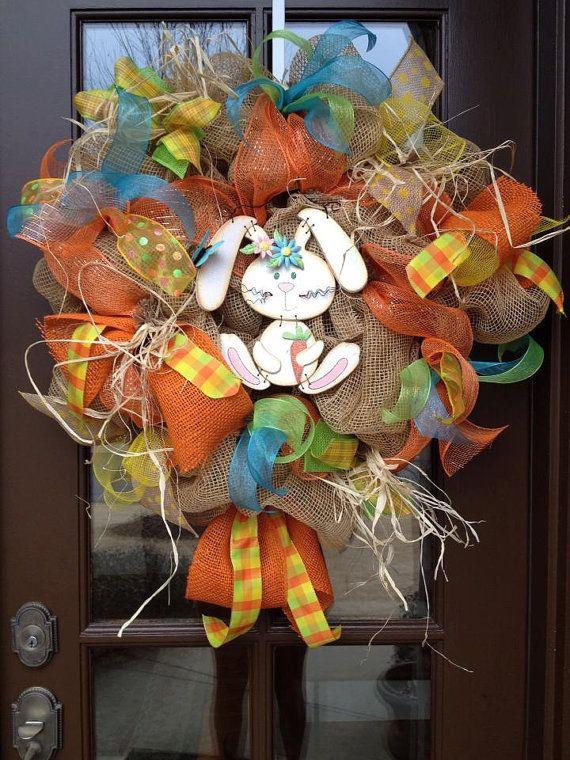 SALE Burlap Easter Wreath Easter wreath by AllGlitterandbows, $85.00