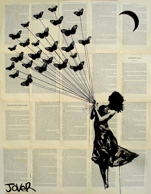 """Saatchi Online Artist: Loui Jover; Pen and Ink, 2013, Drawing """"butterflying (SOLD)"""""""