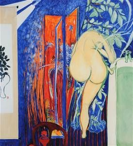 "Brett Whiteley (1939-92), Quality Reproduction Print, ""Arkie in the Shower"""