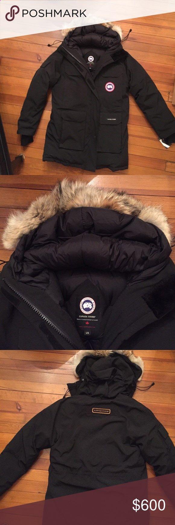 Canada Goose Expedition Parka like new womens Lg Canada Goose Expedition Parka womens large black with coyote fur trimmed hood literally worn maybe twice. I have a neck issue and the Parka is just too heavy for me. Warm as can be with adjustable cinch waist. A Steal. Pristine condition. Originally developed for scientists at McMurdo station in Antarctica. A rugged water-resistant shell stands the test of time, while a superior 625-fill-power down blend offers incomparable warmth when t...