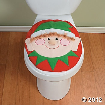 Surprise Holiday Guests With Our Humorous Toilet Lid Cover That Has Two Looks In One It Features A Smiling Elf On Side And