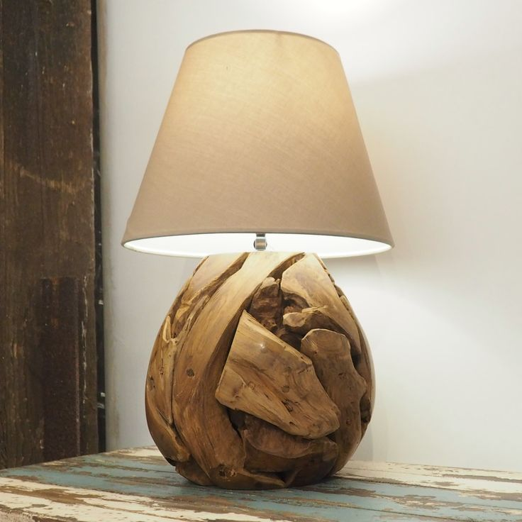 Bella:Beautiful Layers Of Teak Root Overlap To Form This Pear Shape Lamp  Base. An Attractive Wooden Lamp Base And Would Suit Any Modern Or  Traditional ...