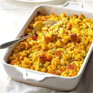 Grandma's Corn Bread Dressing Recipe- Recipes  Growing up, we didn't have turkey. We had chicken chopped and baked in my grandmother's dressing. Now we leave out the chicken and keep the cornbread dressing. —Suzanne Mohme, Bastrop, TX
