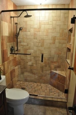 small bath remodel with complete tile shower herringbone pattern on back shower wall glass shower doors tile floor 6 different typescolors of tile