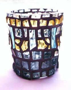 """Tears"" mosaic tea light candle holder - 2005 by Kevin McMahon @MosaicAvatar"