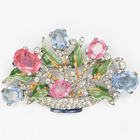 Trifari 'Alfred Philippe' Pink and Blue Topaz Medium Pastel Flower Basket Pin…