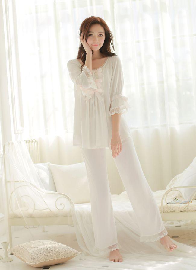Женщины Хлопок Пижамы Установить Чистый белый пижамы костюмы Сладкий стиль принцессы костюм, Весна пят Брюки, три квартал купить на AliExpress