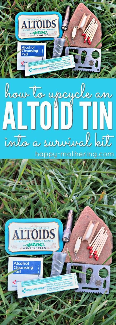 Do you want to create a DIY survival kit? Learn how to make one out of an upcycled Altoid tin and get ideas on how to fill it with the right supplies. It's a great gift idea for outdoor lovers, survivalists and preppers. #altoidtin #upcycled #altoids #survival #survivalkit via @happymothering