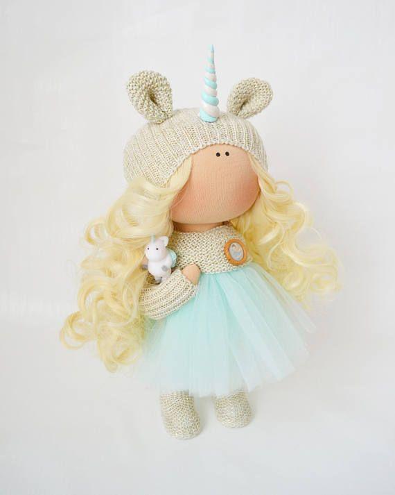 Handmade doll Bonita doll Fabric doll Puppen Interior doll