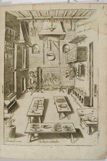 * polskie smaki / wnetrze kuchni - anonimowy miedzioryt wenecki - 1643