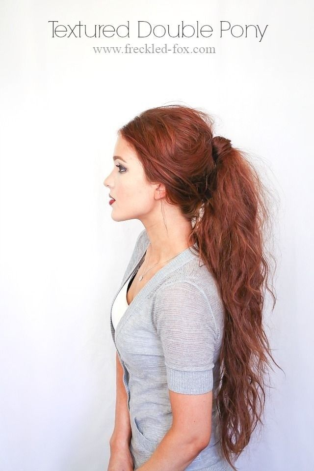 Textured Double Ponytail - Messy Long Hairstyle Ideas