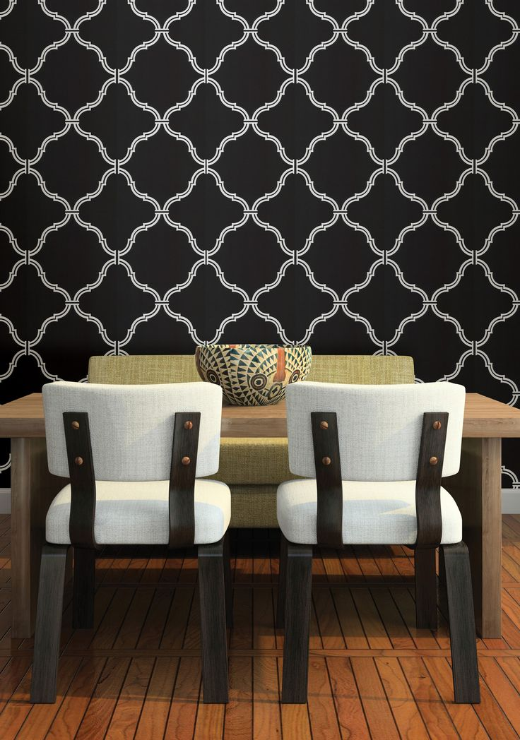 Moroccan wallpaper feature wall dramatic black dining room for Black dining room walls