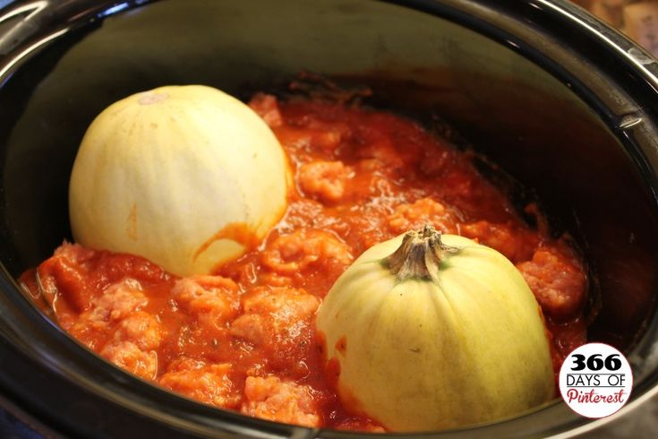 Crock Pot Spaghetti Squash and Meatballs - Healthy and delicious one-pot meal!