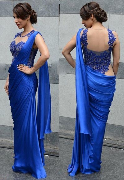 USD 33.96 Sophie Choudry Blue Chiffon Bollywood Party Wear Saree 36751