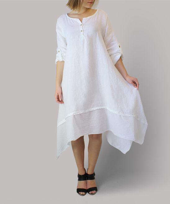White Linen Button-Neck Handkerchief Dress
