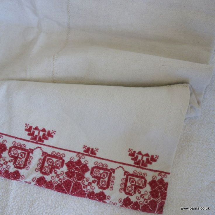 Beautiful antique embroidered traditional pillow case from Transylvania Cross…