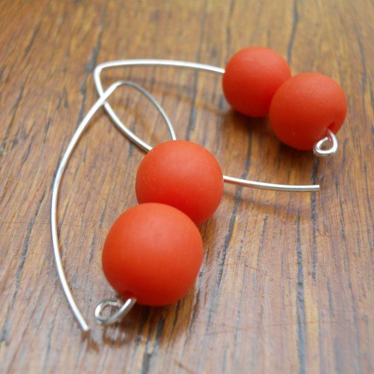 Orange Double Bubble Ball Drop Earrings
