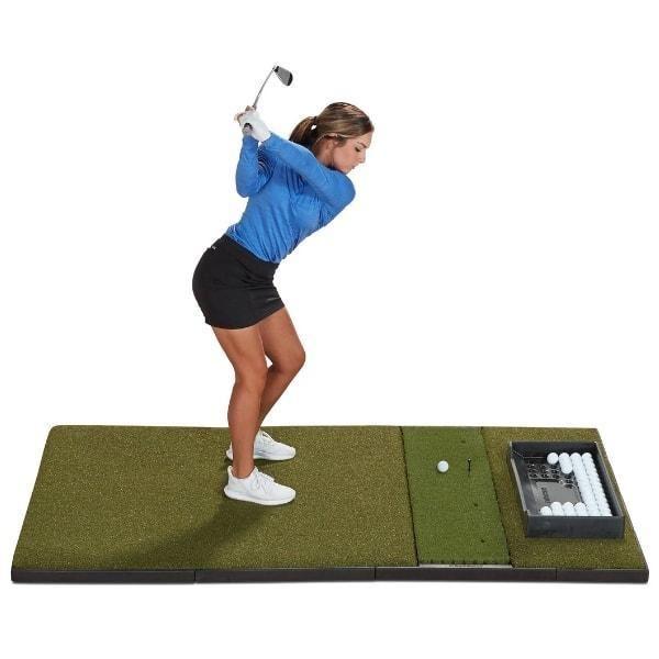 Launch Monitor Studio Golf Mat Fiberbuilt In 2020 Golf Mats Golf Simulator Room Golf