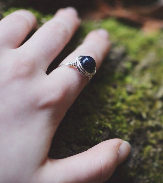 Midnight Stars Wrapped Wire Ring by Wikklow on Etsy