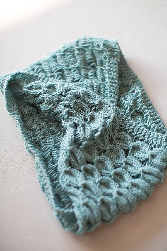 Knitted Neck Warmer , Knit shawl, Columbia Blue