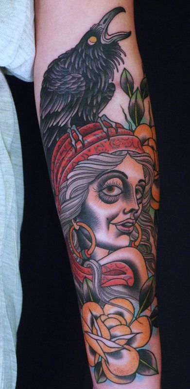 Gipsy Raven Traditional Tattoo Sleeve Cool Tattoos Piercings