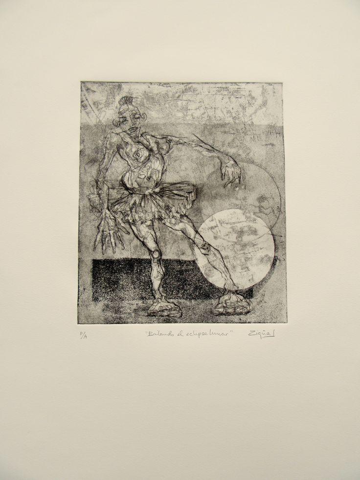 BAILANDO EL ECLIPSE LUNAR | etching | auqatinta, aquafuerte, puntaseca | aquatinta, Ätz-&Kaltnadelradierung | 65x50 cm