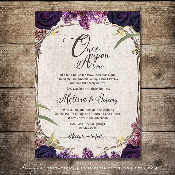 Invitación púrpura de la boda invitación de cuento de hadas
