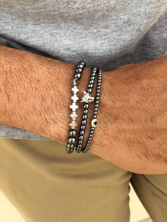 Mens Silver Bracelet Men/'s Beaded Bracelet Silver Hematite Bracelet Gift for Men Gift for Him Boyfriend gift for Men