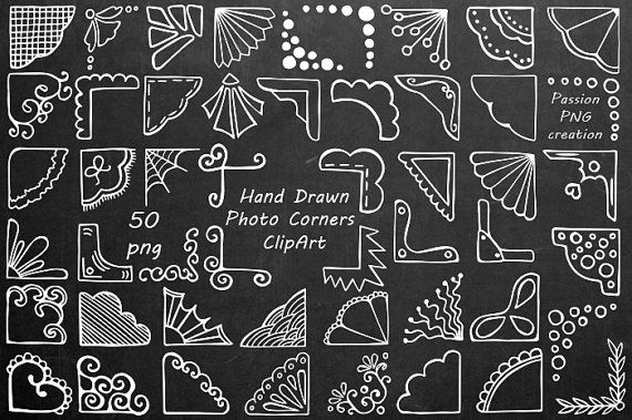 White Hand Drawn Photo Corners Clipart, Doodle corners clip art, Photo overlay, PNG, For Personal and Commercial Use