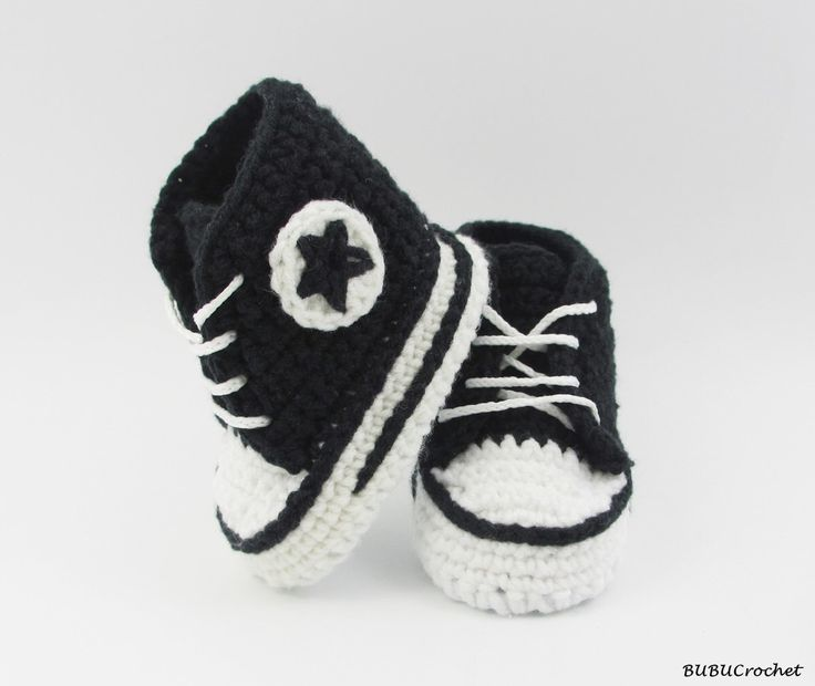 Black crochet baby Converse, baby shoes, baby sneakers, black baby booties, Converse style, baby converse, shower gift, newborn baby by BUBUCrochet on Etsy https://www.etsy.com/listing/245541634/black-crochet-baby-converse-baby-shoes