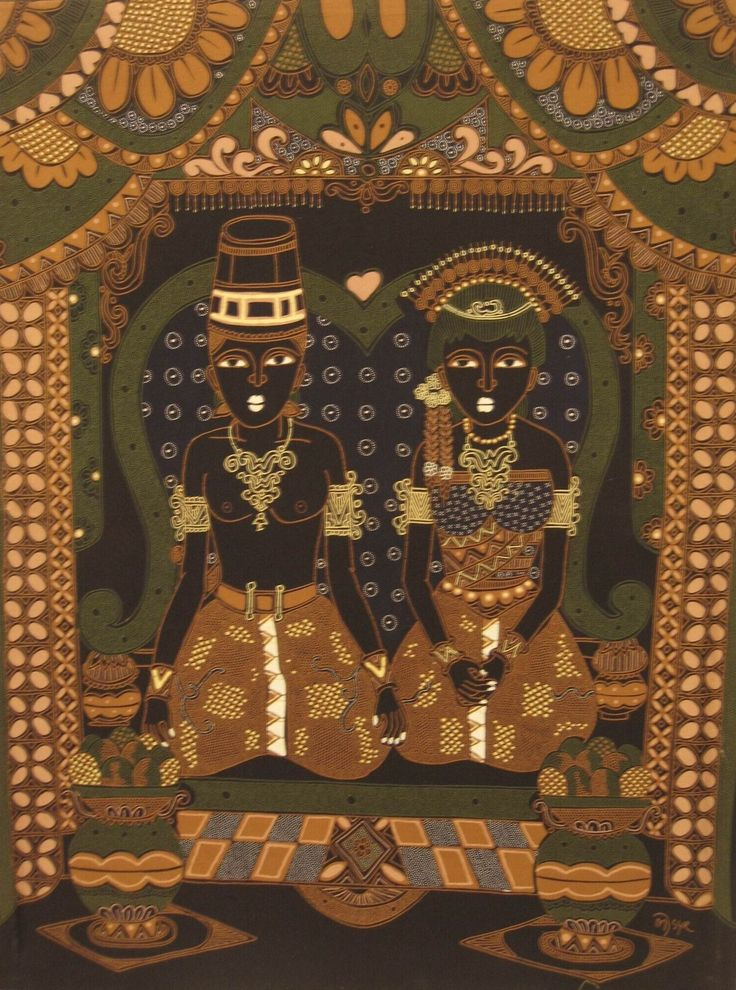 Modern batik painting depicting a Javanese wedding, painted with brown and green lines against a dark blue and black background by  MJSYR, Indonesia. Museon, CC BY