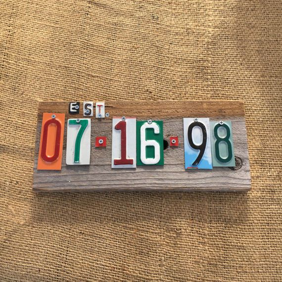 Tin anniversary, wedding date, birthday, special date, license plates, wedding sign, 10th anniversary gift, 50th anniversary gift