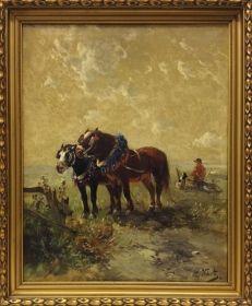 """Salle des ventes ABC : Henry SCHOUTEN (1857-1927) Ecole belge, huile sur toile, """"Chevaux de labour au repos"""", signée bas droite, 80 x 100 cm"""