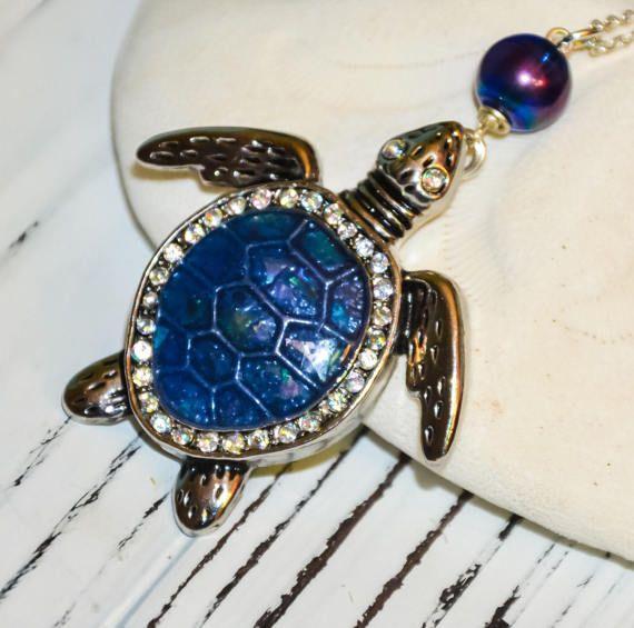 Blue Sea Turtle necklace Ocean jewelry silver turtle jewelry aqua necklace turtle tortoise necklace tortoise jewelry beach gift
