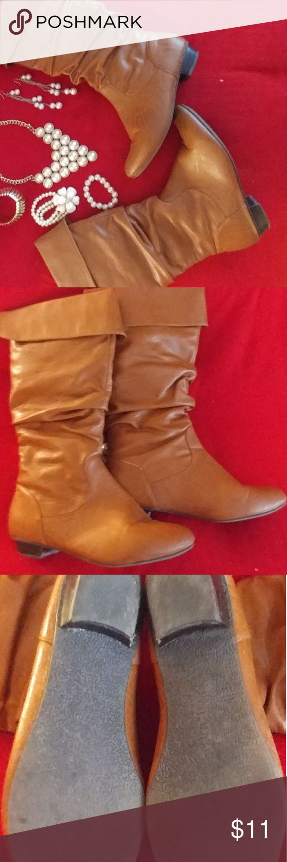 Tan Faux Leather Boots Sleek neutral boot for any occasion. ?Goes great with a dress or over jeans.  Gently used with minor blemishes.  Only worn a few times and kept in good condition. Shoes