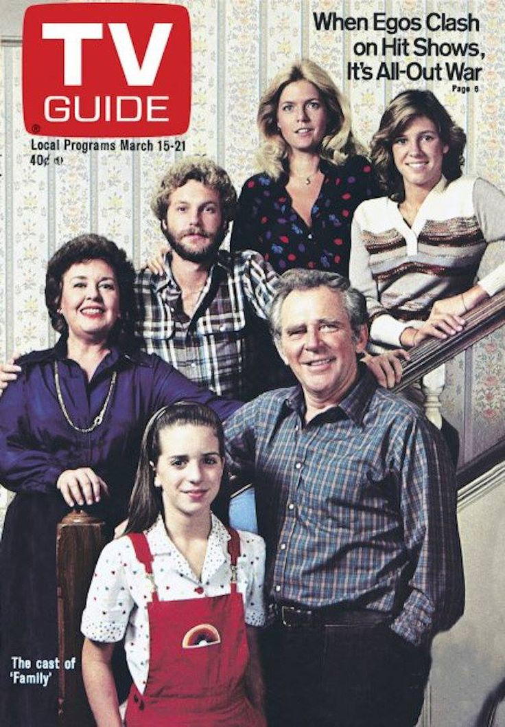 """TV Guide, March 15, 1980. Meredith Baxter Birney, Kristy McNichol, James Broderick, Quinn Cummings, Sada Thompson, and Gary Frank of ABC's """"Family."""""""