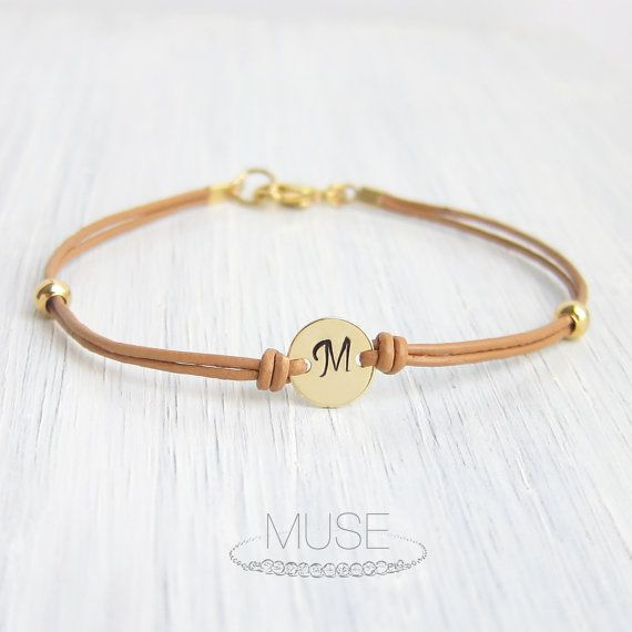 Monogram Leather Bracelet  Personalized Initial by MuseByLAM, $16.00