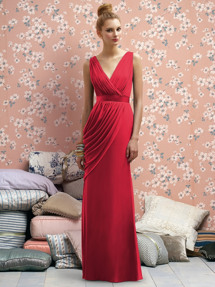 Long red bridesmaid dress- I would want them darker red, but I think these look vintage like?