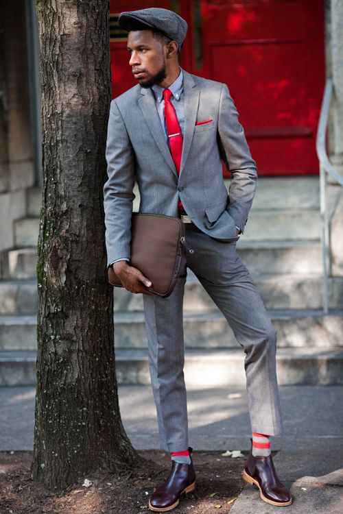 Red And Grey Suit | My Dress Tip