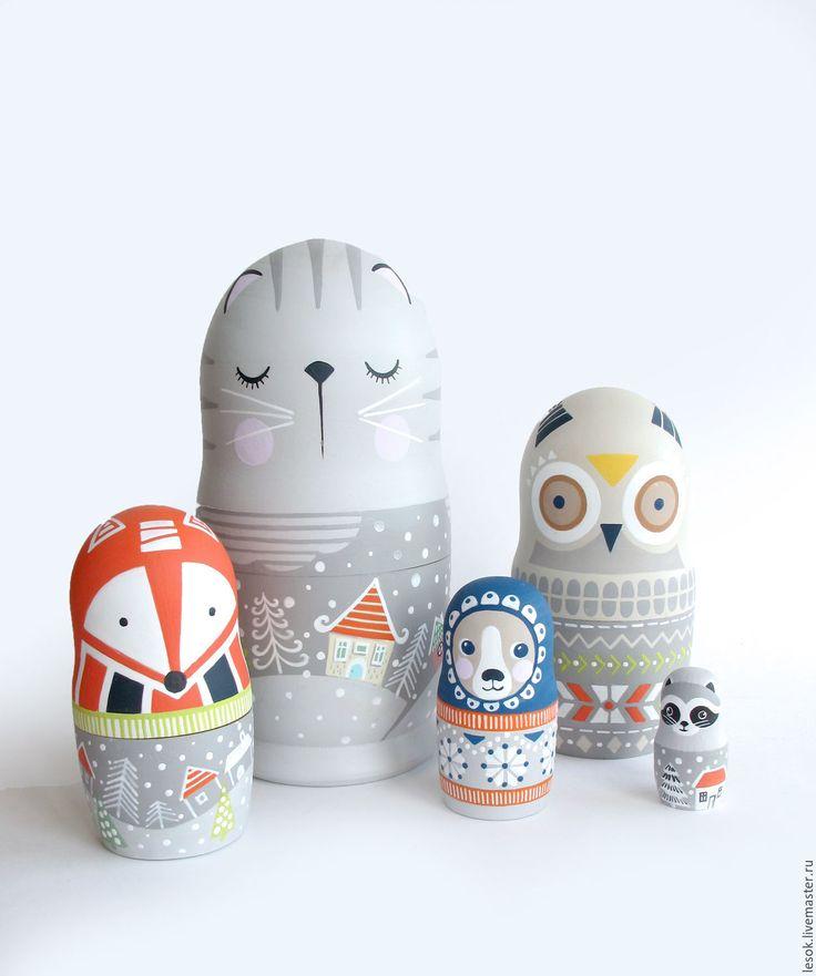 Handpainted Wooden Toys |  Матрешка Котейка - серый, кот, кошка, котейка, сова, мишка, медведь, медвежонок, енот