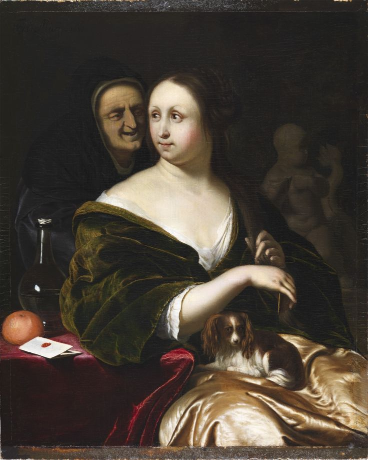 """""""Then David sent messengers and took her."""" 2 Samuel 11:4 // Woman with a Lapdog, Accompanied by a Maidservant (probably Bathsheba with King David's Letter) // 1680 // Frans van Mieris // The Leiden Collection"""