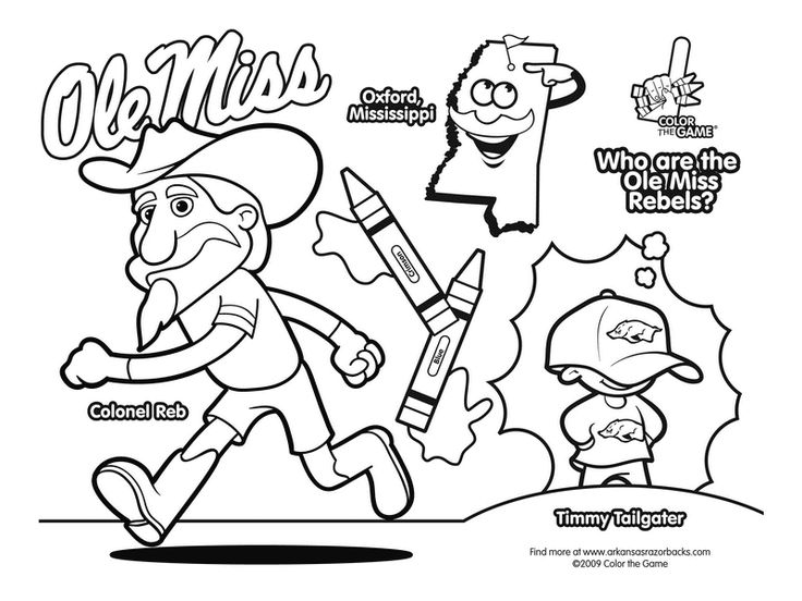 ole miss rebels college football coloring page