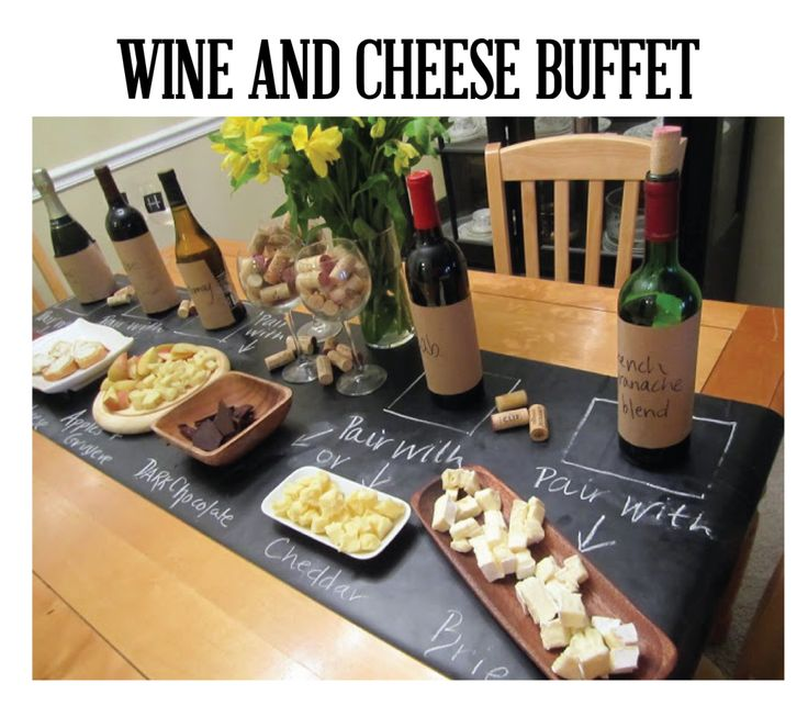 A wine and cheese buffet is perfect for a casual get together, book club night, or appetizers before a dinner party! Set out a variety of wines and pair them up with different cheeses, chocolates, and olives. Add some great crackers and crusty baguette and you have yourself a great happy hour!Chalkboards, Wine Parties, Tables Runners, Parties Ideas, Wine Taste, Wine Cheese, Cheese Parties, Cheese Party, Table Runners