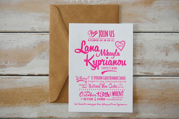 Lana's Christening {Letterpress} {Designed by Irene Kyprianou. Printed by Little Peach Co.} Printing: 1-Colour Letterpress on Crane & Co. Lettra 300gsm. How amazing does that fun typography look in neon pink ink? We loved printing Irene's design for little Lana!
