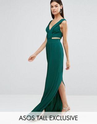 Vestido largo plisado con abertura lateral de ASOS TALL