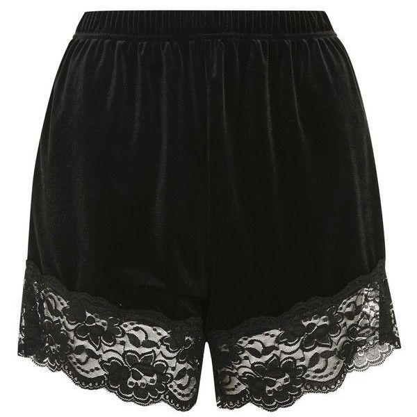 Women's Topshop Lace Trim Velvet Lounge Shorts (€12) ❤ liked on Polyvore featuring shorts, high-waisted shorts, lace-trim shorts, high waisted velvet shorts, high-rise shorts and highwaist shorts
