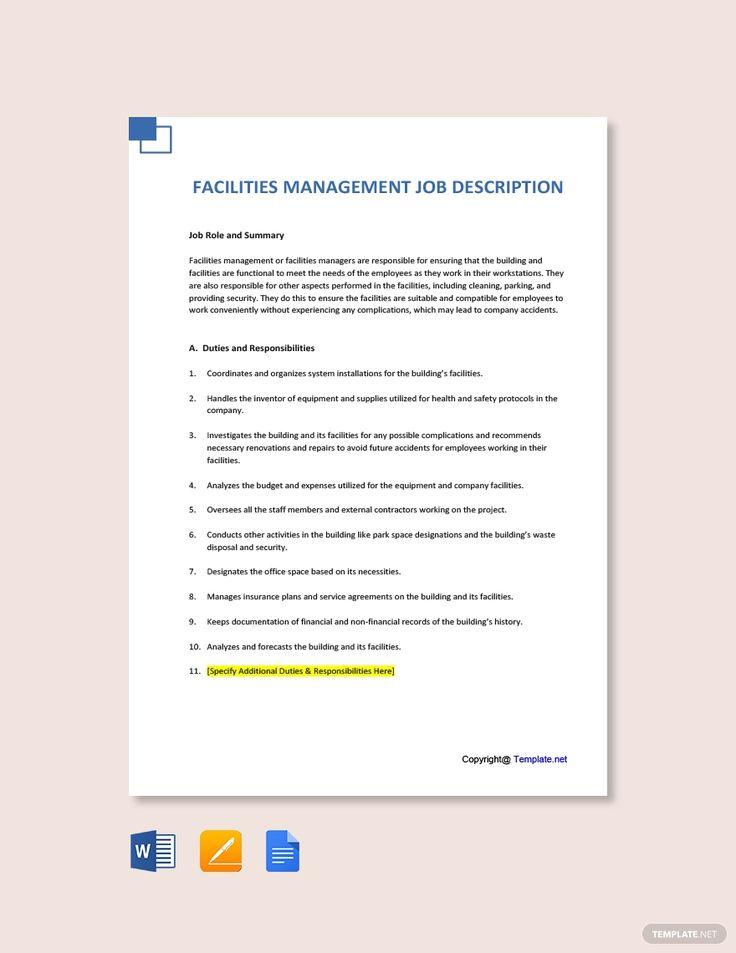 Free Facilities Management Job Description Template in