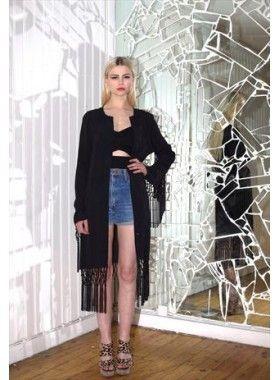 Absence of Colour Etta Long Jacket with Fringe. Buy @ http://thehubmarketplace.com/Etta-long-jacket-fringe #fringe #summer #jacket