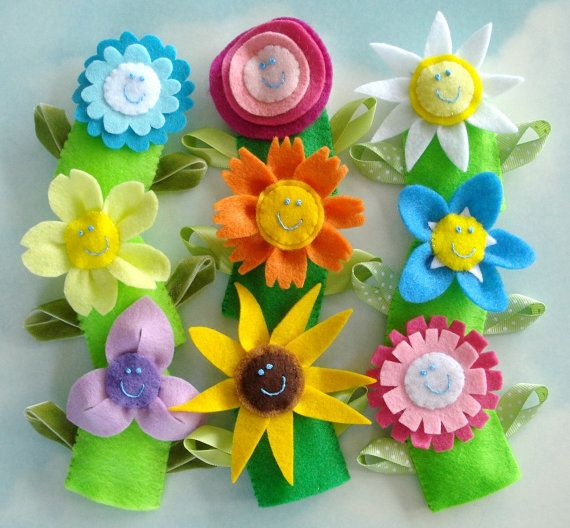 Flower Felt Finger Puppets  & Hair Accessories by preciouspatterns