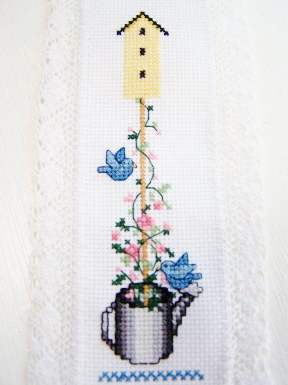 SALE Cross Stitch Bookmark Birdhouse by WitsEndDesign on Etsy
